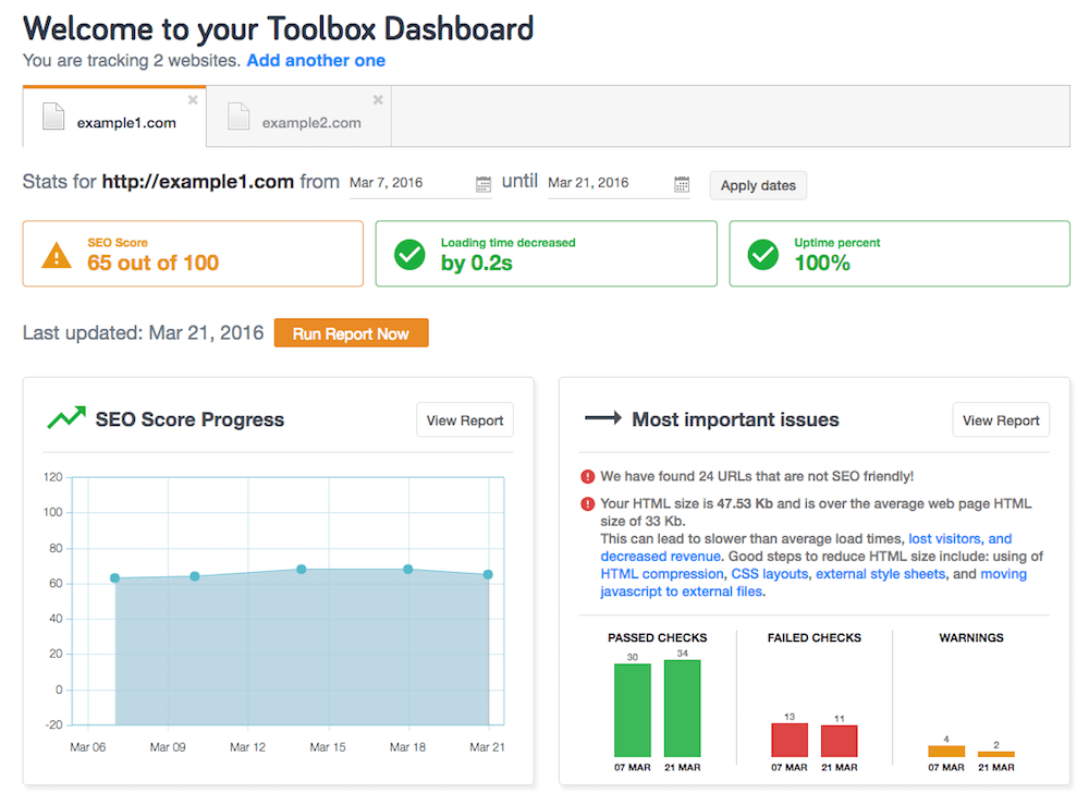 SEO ToolBox Dashboard